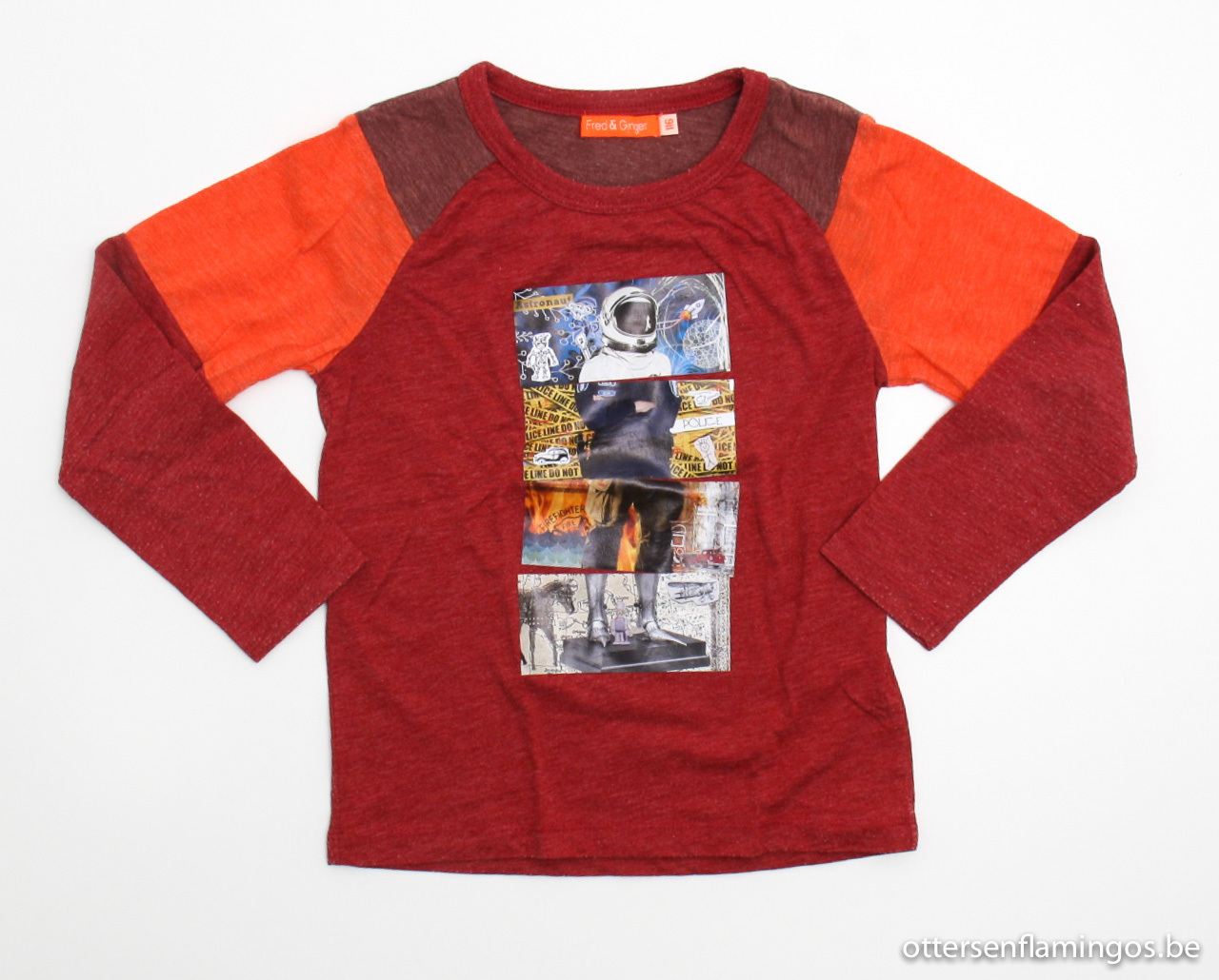Rode longsleeve T - shirt, Fred en Ginger, 116